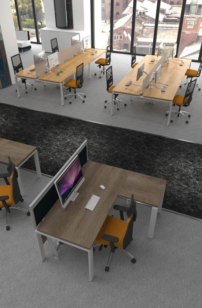 Grey & Natural Nebraska Oak AuraBench Single desks with Return