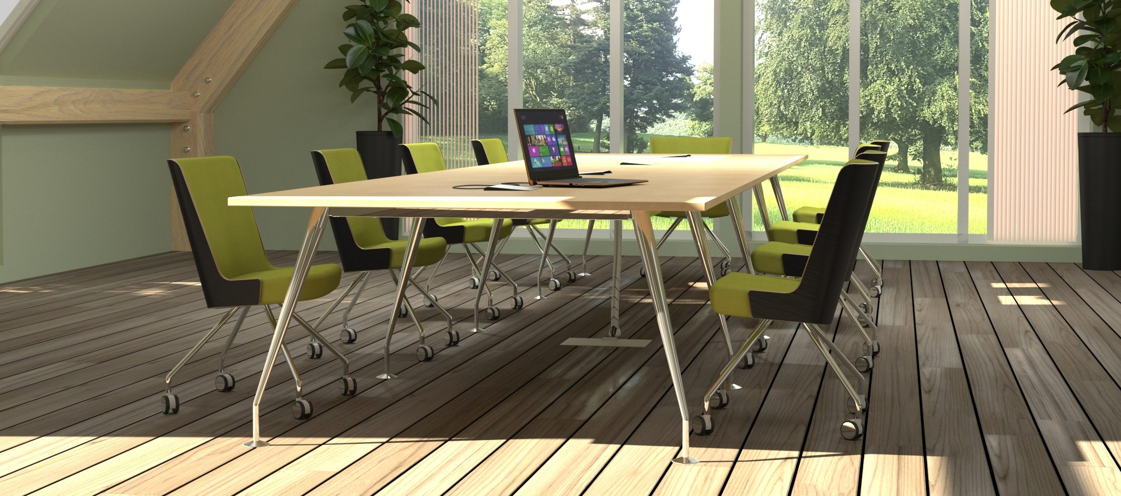 Spire Meeting Table with Heydon Chairs
